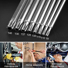 "8Pcs T9-T40 150mm Lenght Magnetic Torx Screwdriver Bits 1/4"" Hex Shank S2 Steel Electric Screwdrier Tool"
