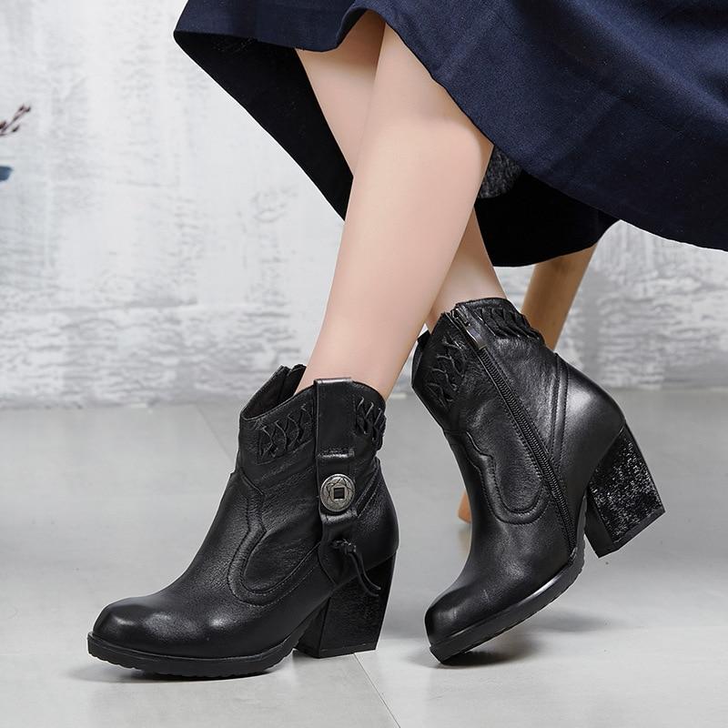 Genuino Otoño Vendimia Solos Cargadores Botas Mano Mujeres A brown Tejida Piel 2018 Black Zapatos Mujer Chaishou Las Cuero De wqxXFAp6g