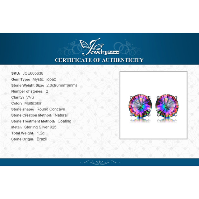 Natural Mystic Rainbow Topaz Earrings Stud For Girls Genuine Pure Solid 925 Sterling Silver Round