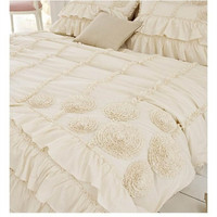 Korean beige three dimensional flower layer bedding set twin full queen size ruffle falbala princess bed skirt free shipping
