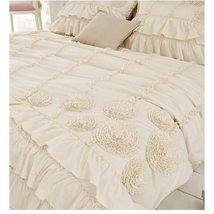 Korean beige three dimensional flower layer bedding set twin full queen size ruffle falbala princess bed skirt free shipping
