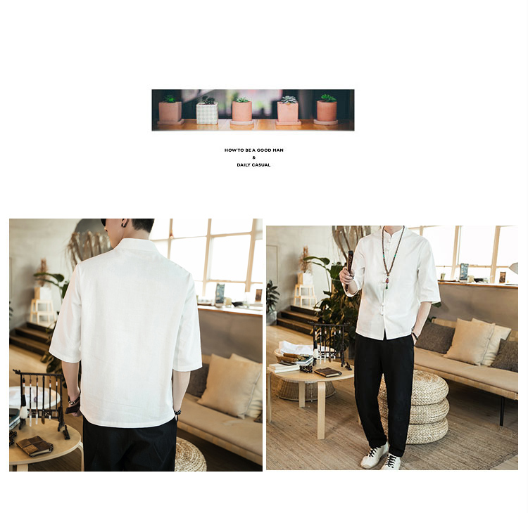 Chinese style summer fashion man's Pure color linen Short sleeve shirt high-grade male comfortable slim fit leisure shirt M-5XL 45