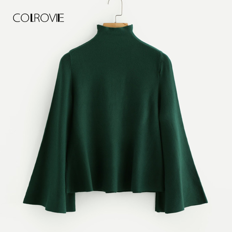bb664c1fdf COLROVIE Black Casual High Neck Flounce Camel Women Sweater 2018 Autumn  Green Solid Stretchy Sweater Classic