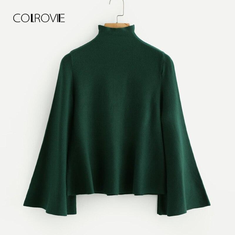 COLROVIE Casual negro de cuello alto vuelo camello suéter de las mujeres de Otoño de 2018 verde sólido elástico suéter clásico jerseys Jersey