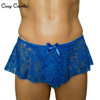 Sissy Panties Blue Lace Pouch Gay Men Underwear Calzoncillos Male Underwear Men S Briefs Skirt Sexy