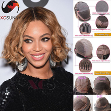 Beyonce hairstyle T4/27 color ombre human hair bob wig middle part natural loose curl short human hair bob wigs for black women