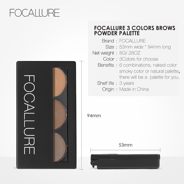Focallure Eyebrow Powder 3 Colors Eye brow Powder Palette Waterproof and Smudge Proof With Mirror and Eyebrow Brushes Inside 4