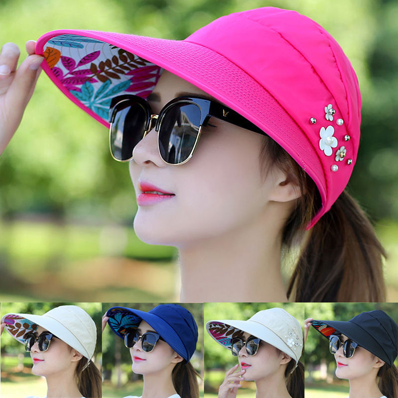Summer Women Foldable Wide Brim Anti-Uv Beach Sun Hat Outdoor Cap Floral New Hot Fashion