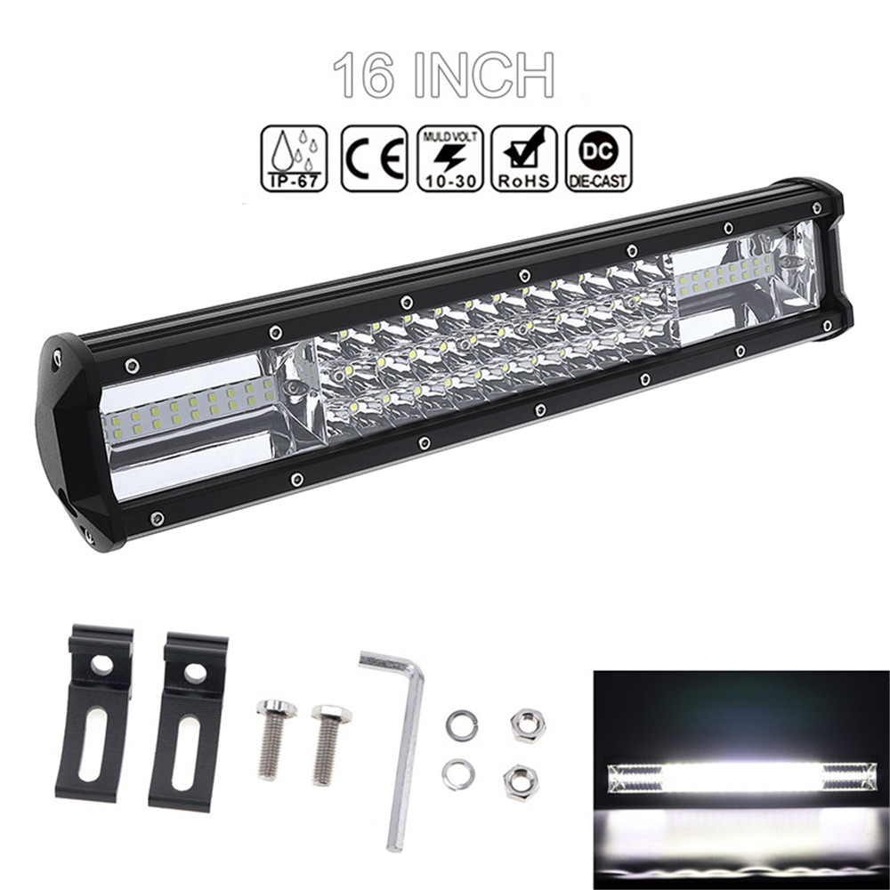7D 16'' 360W Car LED Worklight Bar Triple Row Spot Flood Combo Offroad Light Driving Lamp for Truck SUV 4X4 4WD ATV tripcraft 108w led work light bar 6500k spot flood combo beam car light for offroad 4x4 truck suv atv 4wd driving lamp fog lamp