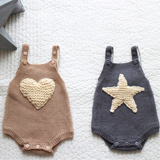 b872a840a699 2017 new baby girls handmade wool knitting star love knitted rompers ...