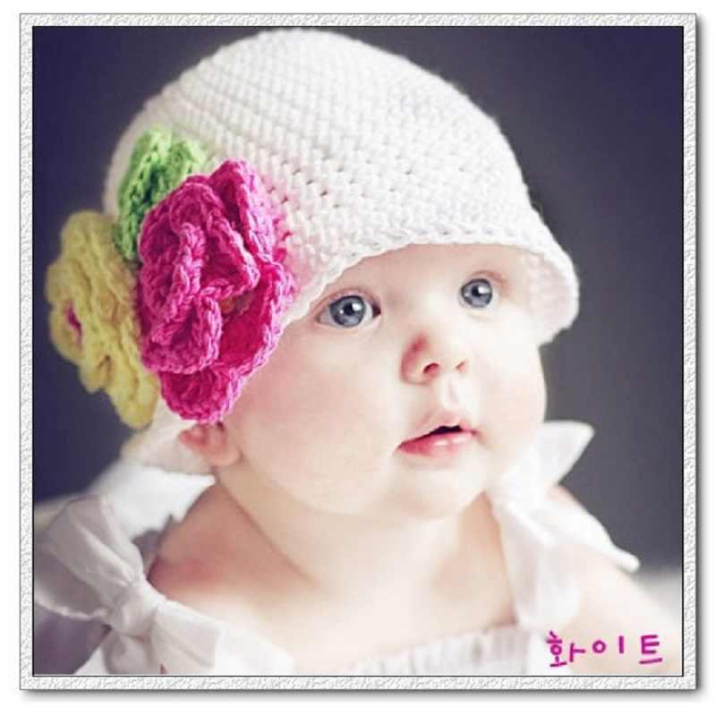 1bbac8a66f3 Crochet Newborn Caps Flower Beret Baby Girl Hats knitted Infant cap Beanie  Bonnet girls winter hat