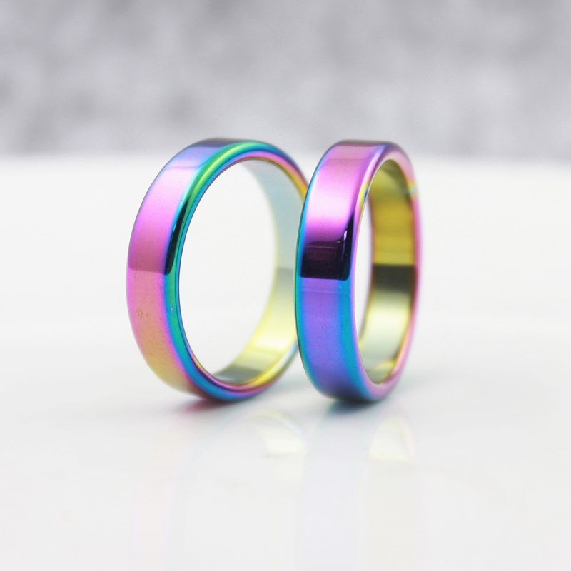 Rainbow Color Grade AAA Quality 6 mm Width flat Hematite Rings( 1 Piece) HR1004