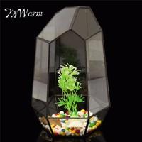 KiWarm Irregular Glass Vase Tabletop Succulent Plant Terrarium Container Box Planter Flower Pot DIY Home Garden