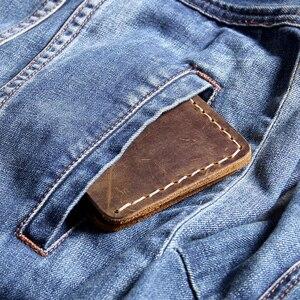 Image 2 - AETOO cartera Retro de cuero puro hecho a mano para hombre, billetera de piel de vaca con capa de cabeza simple, clip para dinero de piel de Caballo Loco