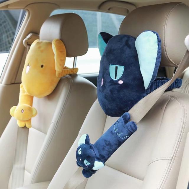 1pair anime sweet Cardcaptor Sakura plush cotton car safety belt cover headrest Vehicle soft rest pacify neck pillow stuffed toy