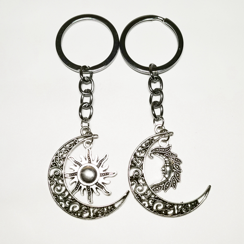 Half Moon Pendant Keychain Fashion Mini Jewelry And To Have A Long Life. Intellective 1pcs Daily Life Inspired New Silver Plated 3d Fashion Sun Moon