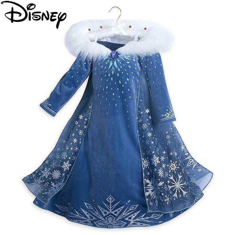 ดิสนีย์แช่แข็งชุดฤดูหนาวสาวเจ้าหญิงแอนนา Elsa น่ารักสาวปาร์ตี้คริสต์มาสฮาโลวีนเครื่องแต่งกาย cinderella infantils ชุด