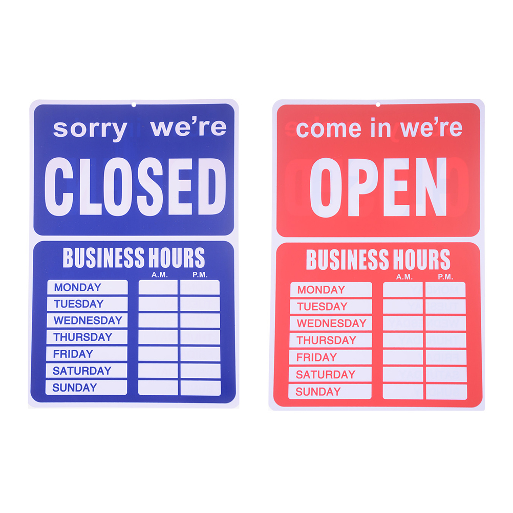 1PCS 24X35CM Open Closed Business Hours Sign Board Store Window with Time Sheet Stickers Decorative Plates