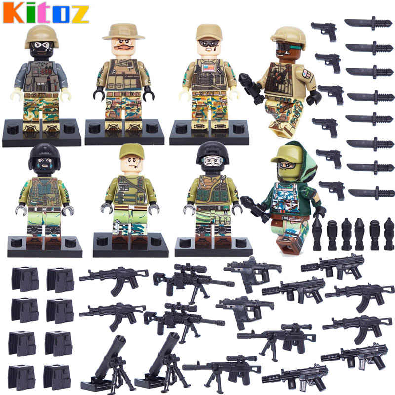 Kitoz MOC Modern War US Army Russian Marine Anti-terrorism Soldier Figure Weapons Building Block Brick Toy Compatible with Lego
