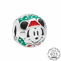 2018 Winter Red & Green Enamel Santa Cartoon Mouse Charm fit Pandora Bracelet Charm Silver 925 Original DIY Charm Beads Jewelry.