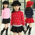 Conjuntos de Desgaste da Menina das crianças Camisola de Malha Novo Inverno Coreano Grosso Miúdos Vestuário Vermelho Rosa Azul Escuro Dot