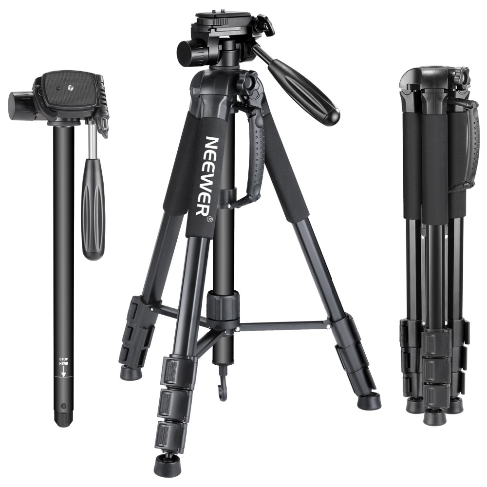 Neewer Portable 70 inches 177 cm Aluminum Alloy Camera Tripod Monopod with 3-Way Swivel Pan Head Carrying Bag for Canon Nikon
