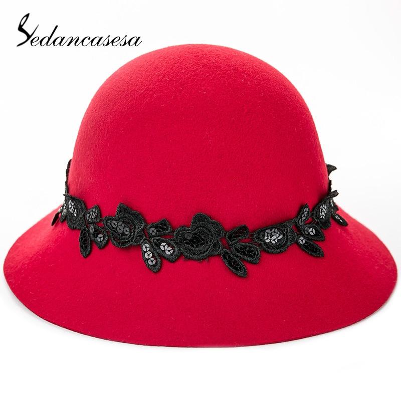 cc97a132d8403 Sedancasesa New England Style Winter Cloche Hat For Women Fedora Hat Woman  Wide Brim Handmade Lace Wool Felt Fedoras Ladies Caps-in Fedoras from  Apparel ...