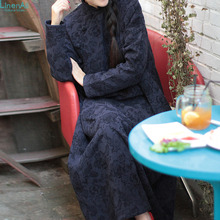 Original design autumn and winter vintage fluid jacquard robe one-piece dress full dress