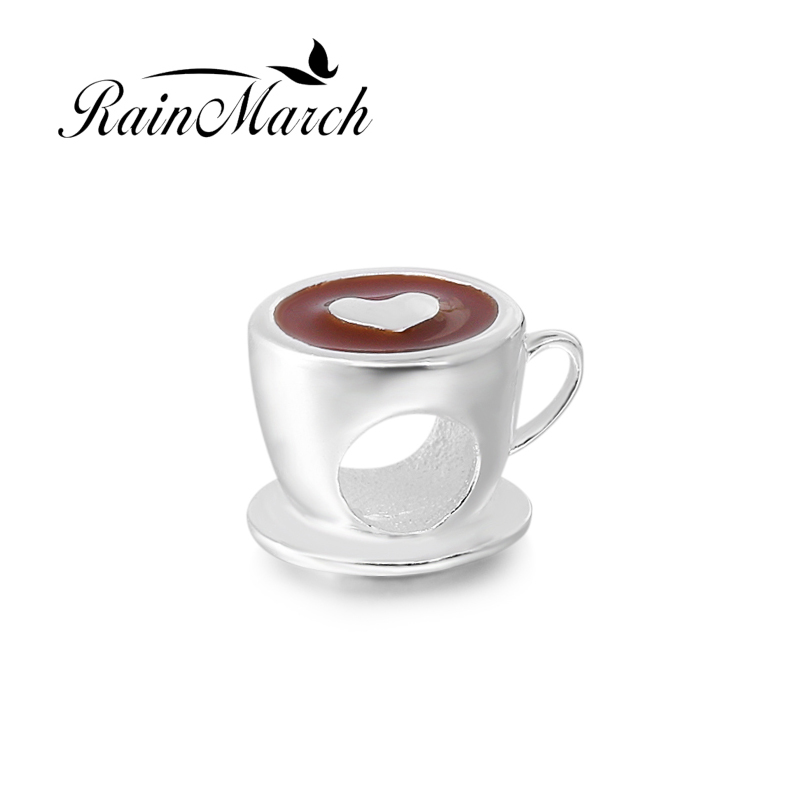 Módní Kávový šálek Charms Korálky Autentické 925 Sterling Silver stříbrné šperky DIY Fit Pandora náramky