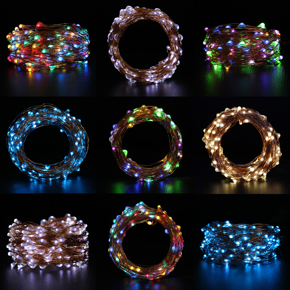 Coolo 10M 100Leds Solar Copper Wire String Light Outdoor Waterproof Solar Powered Fairy String Garland
