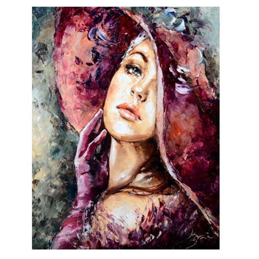 WONZOM Beautiful Girl Pictures By Numbers DIY Handpainted Figure Wall Painting New Gift Coloring Number Arts For Home Decor