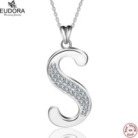 Eudora 100 Real 925 Sterling Silver Fashion Style Crystal Letter S Pendant Necklaces Women Charm Jewelry
