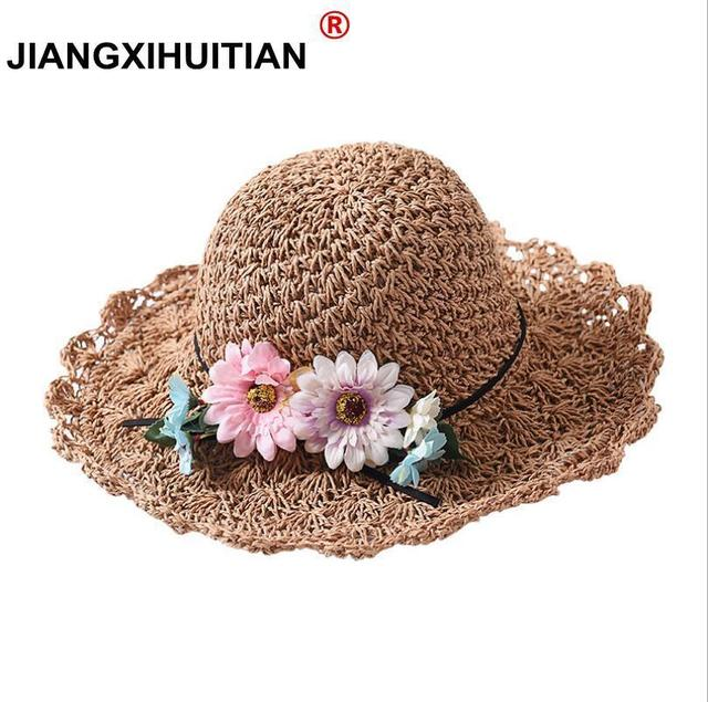 a3767895124 Spring Summer Women Sun Hats Fashion Lady Wide Large Brim Foldable Straw  Hat Flowers Women Sunscreen Beach Cap Girl Bucket Hat