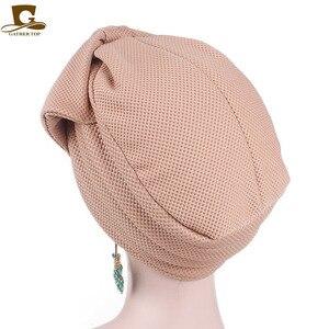 Image 3 - Nuovo di modo Musulmano India di Lusso Delle Donne Grande Fiocco del Cappello Turbante Cofano Chemio Hijab Beanie Cap Signore Turbante accessori per capelli