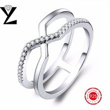 Fashion Ring for Women White Gold Plated Ring 2016 Sterling-Silver-Jewelry CZ Diamond Female Ring Vintage Wedding Ring for Party