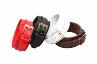 Lederen pols manchet armband mannen titanium rvs gesp brede band lederen riem armband rood/zwart/wit/bruin