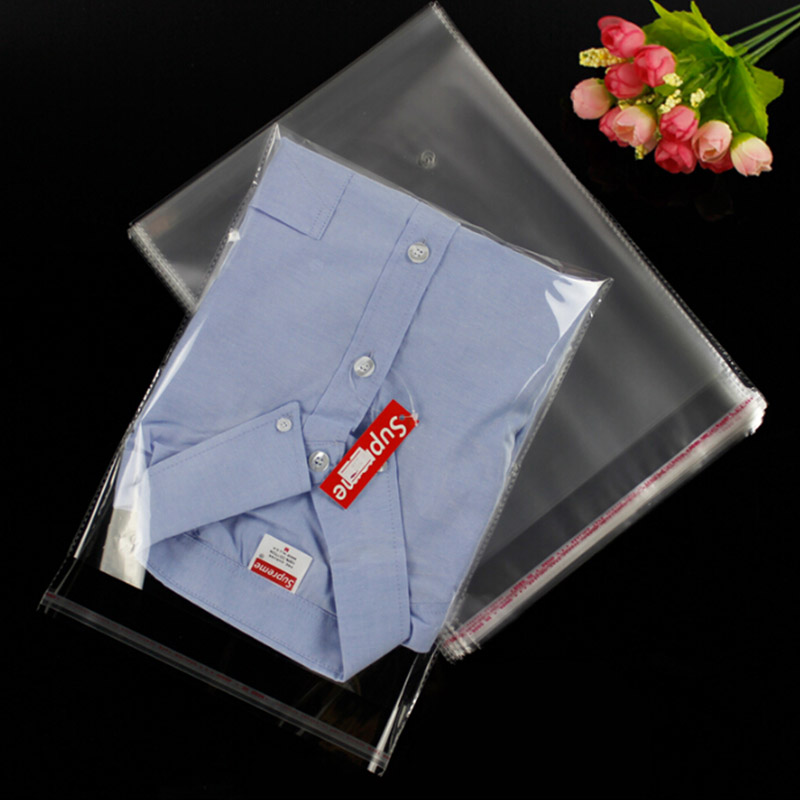 200pcs 22x29cm clear plastic bag resealable cellophane for Clear shirt packaging bags