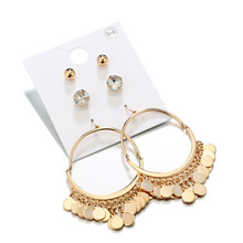 Metal Sequins Circle Earrings for Women Alloy Gold Stud Fashion Jewelry Pendientes Party Gift