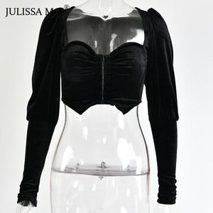 Image 4 - JULISSA MO Black Strapless Sexy Short T shirts Women Elegant Velvet Puff Sleeve Cropped Shirts Tee Female Velvet Summer Crop Top