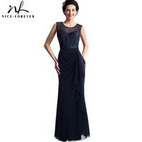 Nice Forever Vintage Elegant Sexy Mesh Lace Gown O Neck Sleeveless Side Draped Maxi Long Woman