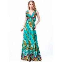 2016 Sexy Backless Sexy V Collar Floral Pritned Beach Big Size Woman 4XL 5XL 6XL 7XL