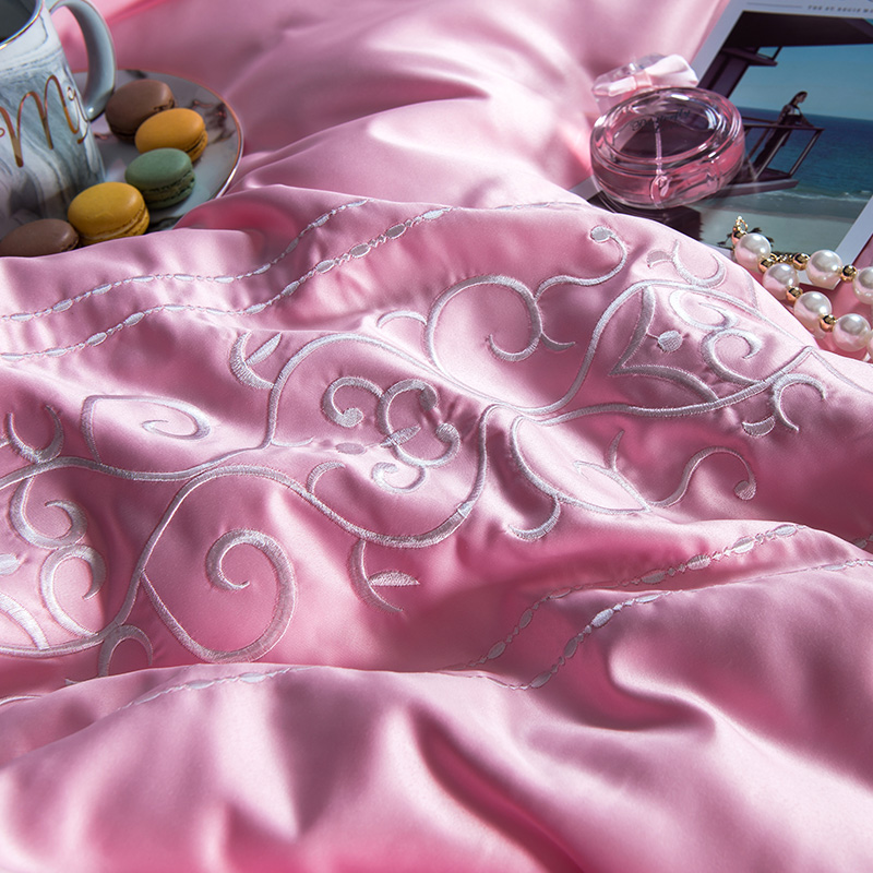 (9)  White silver cotton imitate silk luxurious Bedding Set queen king measurement mattress set Bedsheets linen Europe embroidery Quilt cowl set HTB1m2S8eHsrBKNjSZFpq6AXhFXaw