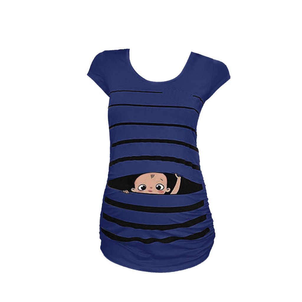 المرأة بلوزة الأمومة لطيف مضحك الطفل طباعة مخطط تي شيرتات قصيرة الاكمام الحوامل قمم