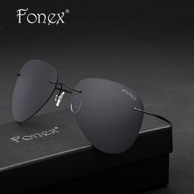 Fonex 2016 New Fashion Aviation Men Titanium Polarized Sunglasses Women Rimless Pilot Sun Glasses Shades With Original Box F8205