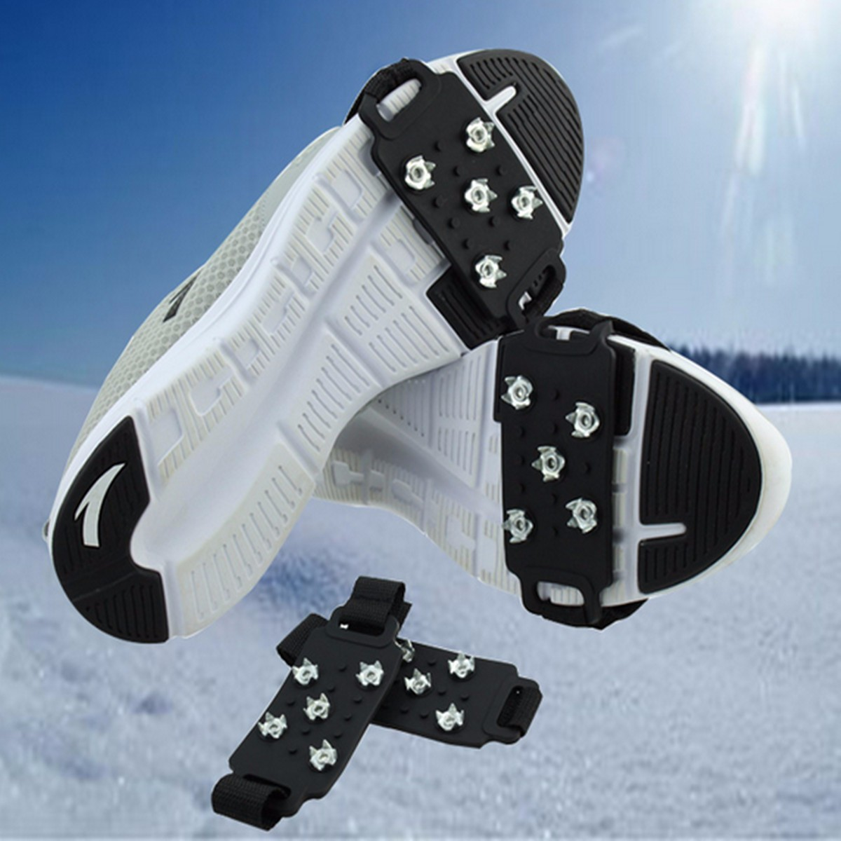 1Pair Silica Gel Ice Grippers, Snow Ice Climbing Anti Slip Spikes Grips Crampon Cleat 5-Stud Shoes Cover Hiking Trekking Slipper bsaid1pair silic ice grippers snow ice climbing anti slip spikes grips crampon cleat 5 stud shoes cover hiking trekking slipper