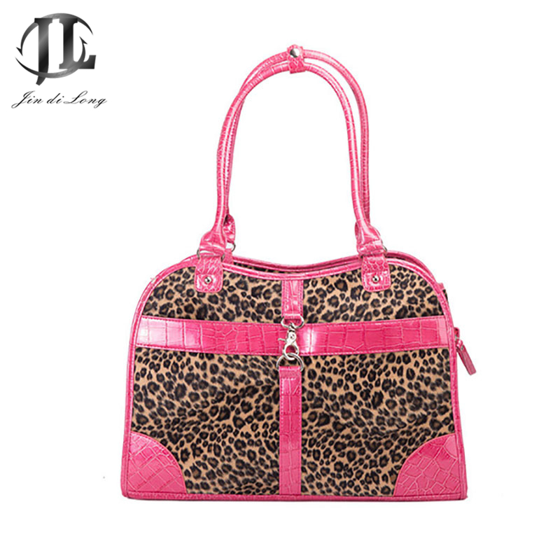 2017 Brand PVC Leopard Stylish Sturdy Pet Handbags Tote Outdoor Ventilate Dog Cat Storage Bags Travel Porable Bolas Pink/Brown