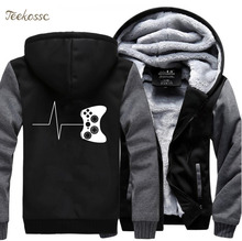 For Gamers Zipper Hoodies Funny Gaming Video Sweatshirts 2018 Hot Winter Warm Fleece Men Thick Hooded Game Mens Jacket