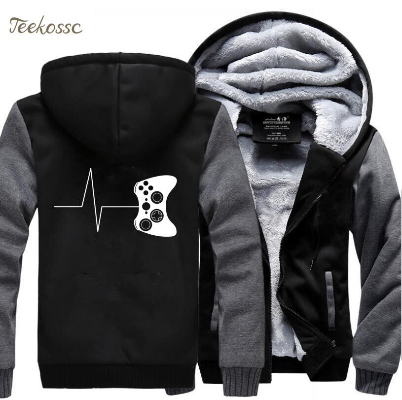 Gamers Zipper Hoodies Funny Gaming Video Sweatshirts Hoodies Men 2018 Winter Warm Fleece Thick Hooded Game Hoodie Mens Jackets