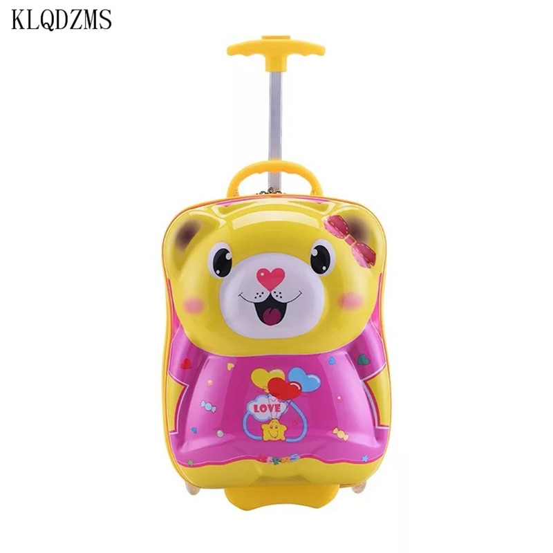 KLQDZMS New17inch  animal cartoon children's trolley case ABS+PC rolling luggage carry on travel suitcase on wheels