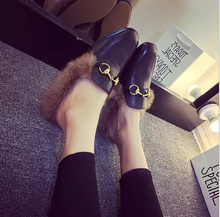 Fur Loafers 2017 Chain Slippers Winter Platform Shoes Woman Slip On Flats Warm Creepers Fashion Women Shoes